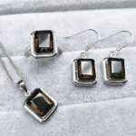 TBJ,13 ct natural smoky quartz gemstone jewelry set in 925 <b>silver</b> ,classic design gemstone jewelry for women with gift box