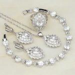 925 Sterling <b>Silver</b> Jewelry White Cubic Zirconia Costume Jewelry Sets For Women Wedding <b>Bracelets</b>/Necklace/Pendant/Earrings/Ring
