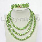 Prett Lovely Women's Wedding shipping>> stylish 49″ 8-9mm baroque laurel-green pearls necklace 2row bracelet set e1458