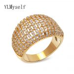 Women's fashion <b>jewelry</b> 2018 new ring anel CZ crystal gold & white color Designer Rings Top quality <b>accessories</b> wholesale china