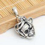 <b>Handmade</b> 925 Silver Skull Pendant vintage thai silver Skeleton pendant pure silver PUNK <b>jewelry</b> gift man pendant