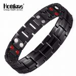 Hottime Black Men's Titanium Bracelets & Bangles Double Row 4 IN 1 Bio Elements Energy Magnetic Health Power Sports <b>Jewelry</b>