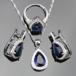 Blue Drop Zircon 925 Silver Wedding <b>Jewelry</b> Sets Women White Stones Earrings Set of Jewelery Necklace/Pendant/Rings Gift Box
