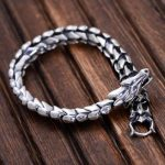 Genuine 925 Sterling <b>Silver</b> Jewelry Heavy Dragon Scale <b>Bracelet</b> For Men 23CM Vintage Punk Style