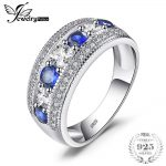 JewelryPalace Luxury 1.54ct Round Created Blue Sapphire Cocktail Band Ring 925 Sterling <b>Silver</b> Fashion Brand <b>Jewelry</b> For Women