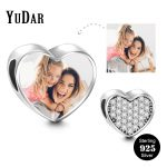 YUDAR Personalized 925 Sterling <b>Silver</b> Heart Photo Charm for <b>Bracelet</b> Micro Pave Tiny Cubic Zirconia Heart Charm Gifts YDS-1115