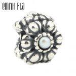 Emith Fla 925 Sterling <b>Silver</b> Flower Whorl Charm Beads Fit for European Bracelet & <b>Necklace</b> Vintage Women DIY Jewelry Making