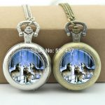 WholesaleHowling Wolves Pocket Watch Animal <b>Jewelry</b> Photo Locket Necklace <b>Antique</b> Pocket Watch Necklace