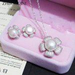 ZHBORUINI Fashion <b>Necklace</b> Pearl <b>Jewelry</b> set Natural Freshwater Pearl 925 Sterling Silver Flower Earrings Pendant For Women Gift