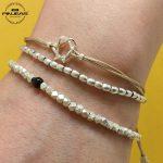 PINJEAS 925 sterling <b>handmade</b> beads Delicate Stackable woven Thread bracelet Refinement beaded <b>Jewelry</b>,bridesmaid gift