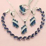 WPAITKYS New Top Selling Blue Cubic Zirconia 925 Sterling-<b>Silver</b>-Jewelry Sets For Women <b>Bracelet</b> Necklace Earrings Ring Free Box