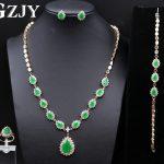 GZJY Noble Gold Color Green Zircon <b>Necklace</b> Ring Earrings Bracelet <b>Jewelry</b> Sets For Women Luxury Anniversary Wedding <b>Jewelry</b>