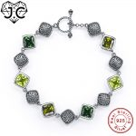 J.C Solitaire Genuine 925 Standard Sterling <b>Silver</b> <b>Bracelets</b> Gorgeous Christmas Gifts For Women Delicate Emerald &Peridot Topaz