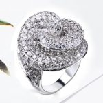 Luxury Fashion Rings Flower <b>Jewelry</b> Bridal <b>Accessories</b> Cubic Zirconia Stones Statement Design Bold Style Women Big Wedding Ring
