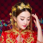 Classic Gold Color Hair Accessories Vintage Chinese Bridal Wedding Hairwear Coronet Dangle Earrings Pageant <b>Jewelry</b> Hair Sticks