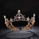Sparkling Crystal Star Round Tiara Gold Rhinestone Pearl Queen Crown <b>Wedding</b> Prom Pageant Head Ornaments Bridal <b>Jewelry</b> CR106