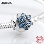 Fashion exquisite 925 Sterling Silver blue zircon flower clips Lock beads Fit Original Pandora Charm Bracelet <b>Jewelry</b> <b>making</b>