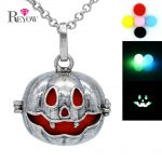 <b>Antique</b> Silver Big Pumpkin Hollow Locket Glow in the Dark Beads Necklace Aromatherapy <b>Jewelry</b> Essential Oil Diffuser