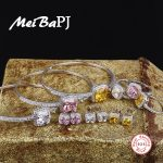 [MeiBaPJ] European and American S925 Pure <b>Silver</b> Set AAA Zircon Square Yellow Stone&Pink Stone Ring&<b>Earrings</b>&Bangles Set Jewelry