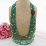 N100201 30″ 8 Strands Green Onyx White Pearl Necklace CZ Pendant