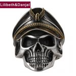 Men Ring 925 <b>Sterling</b> <b>Silver</b> <b>Jewelry</b> Vintage Punk Pirate Captain Skull Adjustable Finger Ring Women Gift Fine <b>jewelry</b> FR57