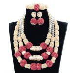 Splendid Nigerian Wedding Coral Statement <b>Jewelry</b> Set <b>Handmade</b> Coral Beaded African Necklace Bracelet Earrings Set Gold GA511