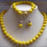 Prett Lovely Women's Wedding New Design 10mm Yellow Sea Pearl Shell Necklace Bracelets Earring <b>Jewelry</b> Set
