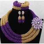 Hot Sale <b>Handmade</b> Crystal Beads African Bridal <b>Jewelry</b> Sets Purple Gold Nigerian Wedding Beads Necklace Free Shipping ABK107