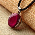 FNJ 925 <b>Silver</b> Round Pendant 100% Real S925 Solid Original <b>Silver</b> Synthetic Red Corundum Pendants for Women <b>Jewelry</b> Making