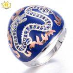 HUTANG Created Blue Sapphire Enamel Solid 925 <b>Sterling</b> <b>Silver</b> Ring Chinese Element Dragon Fine <b>Jewelry</b> 11.11