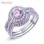 Newshe 2 Ct Round Cut Pink CZ Solid 925 Sterling Silver 3 Pcs Halo <b>Wedding</b> Ring Sets Romantic <b>Jewelry</b> For Women