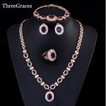 ThreeGraces Dubai Gold Color Purple Oval Austrian Crystal 4 Piece Luxury Wedding Engagement <b>Jewelry</b> Set For Women JS168