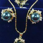 Women's Wedding Black South Sea Shell Pearl Earrings /Ring/ Necklace Pendant Set AAA Grade 5.23 5.23 real silver-<b>jewelry</b>