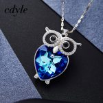Cdyle Owl Shaped Pendants Women <b>Necklaces</b> Crystals From Swarovski <b>Jewelry</b> Austrian Rhinestone Chic Fashion Vintage Blue Purple