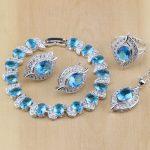 Eye Sterling <b>Silver</b> Jewelry Blue Cubic Zirconia Jewelry White CZ Jewelry Sets Women Earring/Pendant/Necklace/Rings/<b>Bracelet</b>