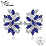 JewelryPalace Unique Design 2.1ct Luxury Created Sapphire Clip On <b>Earrings</b> 925 Sterling <b>Silver</b> 2018 New Fine Jewelry For Women