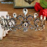 Mamojko Vintage Crystal Gold Tiara Headband Baroque Crown Rhinestone Tiaras Wedding Hair <b>Jewelry</b> Bridal Dress Accessories
