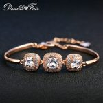 Double Fair OL Style Square Cut Cubic Zirconia Charm Bracelets & Bangles Silver/Rose Gold Color <b>Fashion</b> <b>Jewelry</b> For Women DFH031