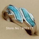 SHUNXUNZE Larimar Natural Stone Twisted rings <b>Jewelry</b> For Women <b>Accessories</b> Rhodium Plated R3525 size 6 8