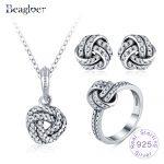 Beagloer 100% 925 Sterling <b>Silver</b> Sparkling Love Knots Pendant Rings Stud <b>Earrings</b> For Women Trendy Jewelry Set Gift PSST0015-B