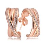 Authentic 925 Sterling Silver Earring Entwined Hoop Earrings For Women Rose Color Clear CZ For Women Wedding fit Lady <b>Jewelry</b>
