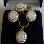 Prett Lovely Women's Wedding Excellent <b>Jewelry</b> White Opal stone Beads Pendant necklace Earring Zircon Ring Set
