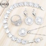 New Year <b>Wedding</b> Round Zircon 925 Sterling Silver <b>Jewelry</b> Sets Women Necklace Bracelets Earrings Rings Set With Stones Gift Box
