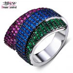 DreamCarnival 1989 Ribbon Look Women Cocktail Ring Braided Blue Fuchsia Green Colors Zirconia Engagement Wedding <b>Jewelry</b> WA10903