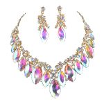 Marquise AB color crystal pageant bridal <b>Jewelry</b> sets women party wedding Dress necklace earrings Rhinestone For Christmas gift