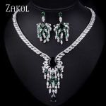 ZAKOL Luxury Bridal Wedding <b>Jewelry</b> Sets Vintage AAA Big Cubic Zircon Flower <b>Necklace</b> Earrings Set For Women Dress FSSP141