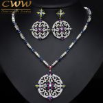 CWWZircons Vintage African Multi Color Cubic Zirconia Wedding Big Long Drop Necklace And Earrings Bridal Jewellery Set T105