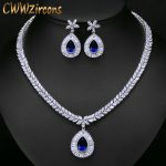 CWWZircons High Quality White Gold Color Cubic Zirconia Paved Big Water Drop Bridal Wedding <b>Necklace</b> And Earring Set T274