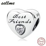 100% 925 Sterling Silver Best Friend Heart Charm Beads Fit Original PAN Charms Bracelet Pendant DIY <b>Jewelry</b> <b>Making</b> Gift