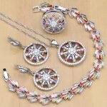 New Arrival Flower Multicolor Zircon <b>Silver</b> 925 Jewelry Sets For Women Wedding Earrings/Pendant/Rings/<b>Bracelet</b>/Necklac Set